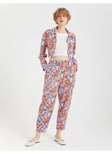 BGN Multirenk - Renkli Çiçek Desenli Rahat Kesim Pamuklu Pantolon Renkli
